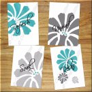 Teal Gray Bathroom Wall Art Quotes Pictures Prints Floral Flower Daisy Relax Soak Unwind +