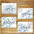 Blue Gray Wall Art Pictures Prints Decor Floral Dahlia Love Laugh Believe Quotes Inspire