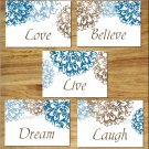 Brown Blue Wall Art Pictures Prints Floral Flower Bathroom Bedroom Decor Live Laugh Love