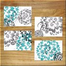 Teal Gray Black Bathroom Wall Art Pictures Prints Quotes Unwind Relax Soak Refresh Floral