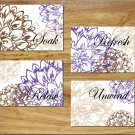 Purple Brown Tan BATHROOM Wall Art Pictures Prints Floral Flower Quote Soak Relax Unwind