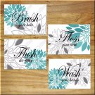 Teal and Gray Bathroom Wall Art Pictures Prints Floral Quotes Wash Floss Flush Brush Word
