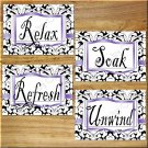 Purple Damask Bathroom Wall Art Pictures Prints Decor Quotes Soak Relax Unwind Refresh