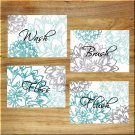 Teal Aqua Gray Wall Art Pictures Prints Bath Rules Quotes Bathroom Decor Floral Flowers