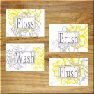 Gray + Yellow Floral Bathroom Wall Art Pictures Prints Bath Decor Floss Wash Brush Flush