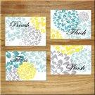 Teal~Aqua~Gray~Yellow Bathroom Wall Art Pictures Prints Decor Floral Dahlia BRUSH WASH +