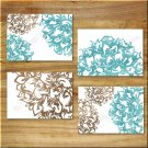 Teal Aqua/Blue Brown Art Pictures Prints Home Decor Floral Flower Burst Bathroom Kitchen+