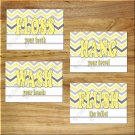 Yellow Gray Chevron Bathroom Wall Art Pictures Prints Wash Hang Floss Flush Rules Words