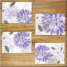 Modern Floral Flowers Burst Purple Gray Wall Art Pictures Prints Kitchen Bathroom Bedroom