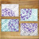 Purple Teal Wall Art Pictures Prints Decor Elegant Damask Floral Flower Aqua Gray Dahlia