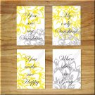 Yellow Gray Wall Art Pictures Prints Nursery Decor YOU ARE MY SUNSHINE Peony Floral Flower