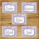 Purple Bathroom Wall Art Pictures Prints Decor Bath Quotes Soak Relax Enjoy Unwind DAMASK