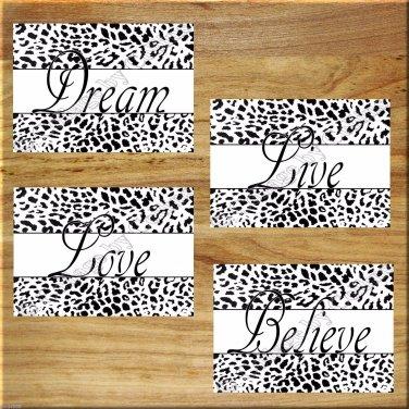 Black White Leopard Cheetah Design Pictures Prints Art Wall Decor Live Love Dream Believe