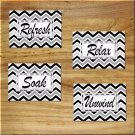 Chevron Pictures Prints Wall Art Bathroom Bath Decor Relax Refresh Soak Black White Rules