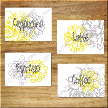 YELLOW GRAY Wall Words Art Kitchen Cafe Flower Floral Pictures Prints Decor Coffee Latte