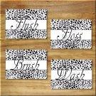 Black White Cheetah Leopard Bathroom Bath Rules Art Pictures Prints Wall Decor WASH BRUSH