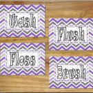 Purple & Gray Chevron Bathroom Wall Art Pictures Prints Quotes Wash Brush Flush Dorm Kids