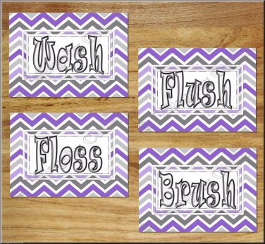 Purple & Gray Chevron Bathroom Wall Art Pictures Prints Quotes Wash Brush Flush Dorm Kids