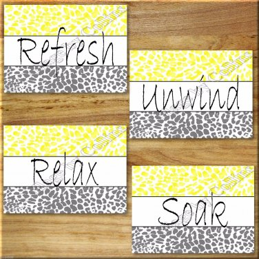 Leopard Bathroom Yellow Gray Wall Art Pictures Prints Quotes Bath Rules Relax Soak Unwind