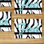 Turquoise Teal/Blue Wall Art Zebra Pictures Prints Bath Quote Rule Flush Wash Brush Flush