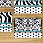 Teal Black White Zebra Wall Art Pictures Prints Pictures Polka Dot Damask Bedroom Bathroom Decor