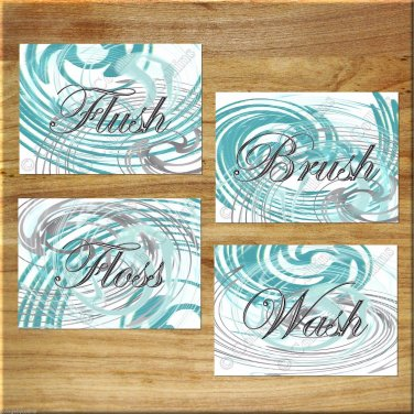 Teal Gray Aqua Modern Bathroom Bath Rules Pictures Wall Art Pictures Prints WASH Flush BRUSH Floss