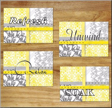 Yellow Gray Bathroom Wall Art Pictures PrintsFloral Damask Dahlia Quotes Soak Relax Rule Pictures