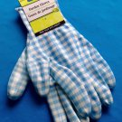 1 Pair Premium Nitrile Coated Women's Garden Gloves, Medium, Checkered Blue FS