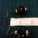 005 Earrings Black Beaded Ball