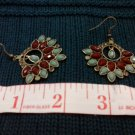 007 Earrings Red and Green Fan