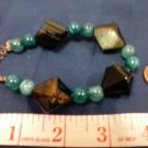 013 Unique (4) Large Diamond-shaped semiprecious Agate & Blue beaded bracelet