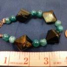 013 Unique (4) Large Diamond-shaped semiprecious Agate & Blue beaded bracelet