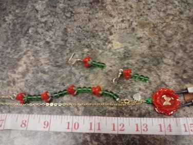 038 Unique Red Rose Pendant & Matching Earrings
