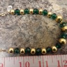 050 Handmade Green and Gold Beaded jewelry set