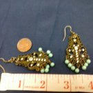 028 Unique Antiqued Chandalier Earrings with Turquoise Beads
