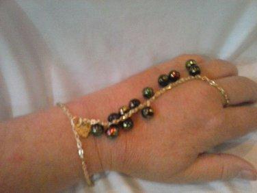 075 Unique multicolored Slave bracelet and earrings