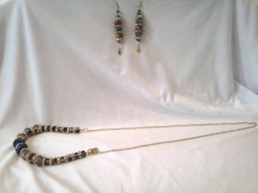 016 Handmade Jewelry Set: Rainbow beads & Rhinestone Necklace & Earrings