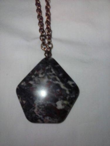 Dragon blood stone hexagon pendant necklace