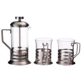 Primula Glass 3-Cup Coffee Press with 2 Matching Cups