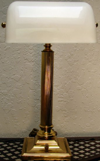 Classic Brass Bankers Lamp with White Acrylic Shade