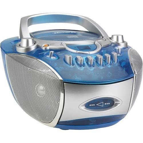 Memorex MP3134BLU Boombox Radio CD/Cassette - Translucent Blue