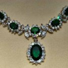 Elegant Emerald Green Necklace 18K White Gold w/ Clear Swarovski Crystals