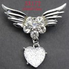 White Topaz Angel Wing Crystal Heart Brooch