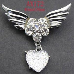 White Topaz Angel Wing Crystal Heart Brooch