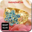 Swiss Blue Topaz Yellow Gold Ring