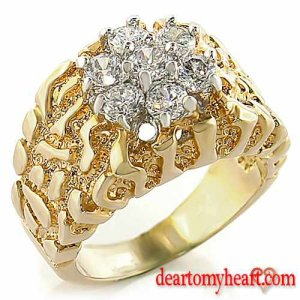 Masculine Gold Nugget Cluster Ring