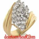 Ladies Gold Tear Cluster Ring