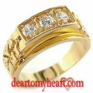 Men's Gold Nugget Tri-Stone Ring