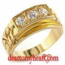 Men's Gold Nugget Tri-Stone Ring