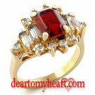 Emerald Cut Crowned Garnet Yellow Gold Ladies Ring
